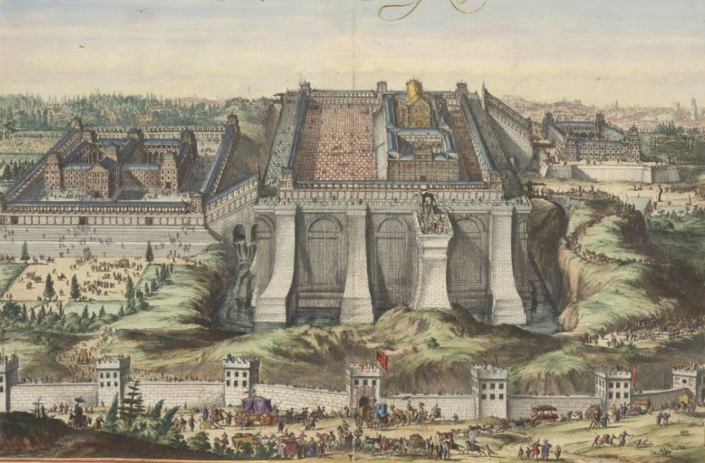 De tempel van Salomo, prent ingekleurd door Dirk Jansz van Santen ca. 1697 (Publiek Domein - wiki)