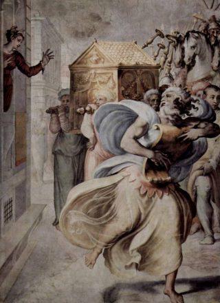 David danst voor de ark, tot ongenoegen van zijn vrouw Michal (links) - Schilderij van Francesco de' Rossi (Publiek Domein - wiki)