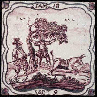 De dood van Absalom, afgebeeld op een tegel uit Rotterdam (CC0 - Museum Rotterdam - wiki)