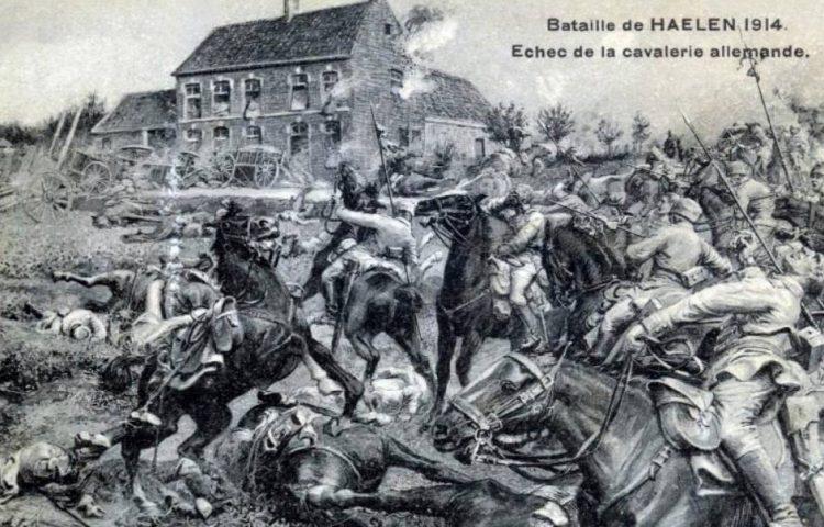 Postkaart waarop de Slag der Zilveren Helmen is verbeeld (Publiek Domein - wiki)