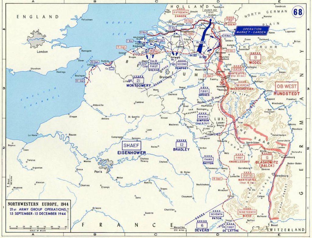 Operatie Market Harden - Kaart met de veranderingen in de frontposities in de tweede helft van september 1944 (Publiek Domein - wiki)