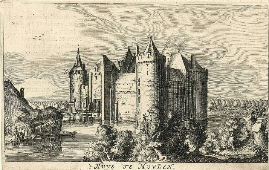Muiderslot op een gravure uit 1649, Joan Blaeu (Publiek Domein - wiki)