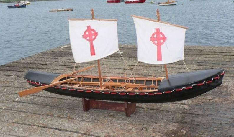 Model van de currach waarmee Sint-Brandaan zou hebben gevaren (CC BY-SA 3.0 - Michealol - wiki)