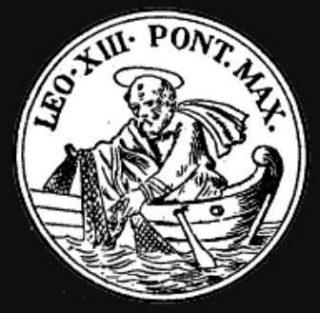 Afbeelding op de vissersring van paus Leo XIII (Publiek Domein - wiki)