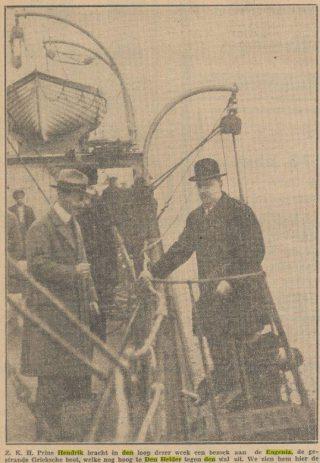 Prins Hendrik bezoekt de Eugenia - Nieuwe Tilburgsche Courant, 22-12-1928 (Delpher)