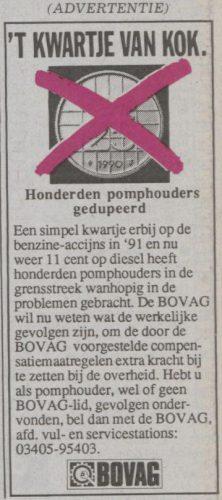 Protest-advertentie van de BOVAG - Limburgsch dagblad, 12-02-1993 (Delpher)