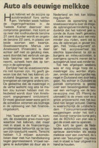 Commentaar op het Kwartje van Kok in het Nieuwsblad van het Noorden, 17-06-1991 (Delpher)