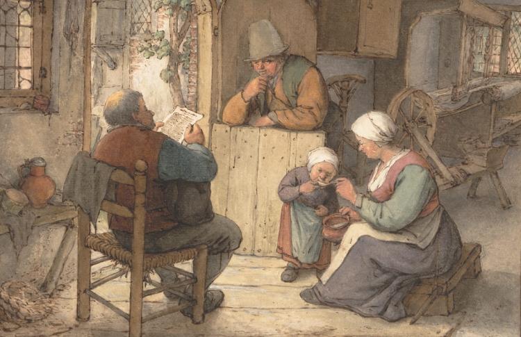 Fragment uit: Krantenlezers in de 17e eeuw. Adriaen van Ostade, Reading the News at the Weavers' Cottage (c. 1673).