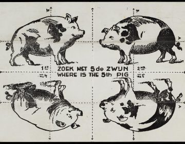 Vouwpuzzel 'Zoek het vijfde zwijn' (CC BY 3.0 - Europeana)