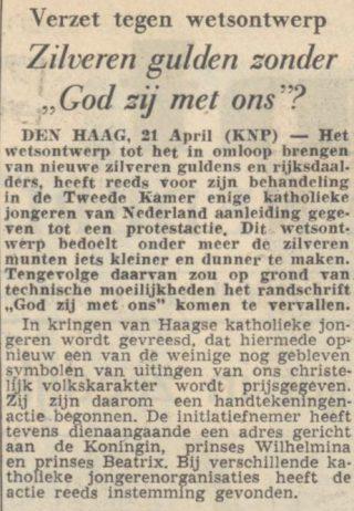 """Ophef in 1953: Guldens zonder """"God zij met ons""""? - De Volkskrant, 23-04-1953 (Delpher)"""
