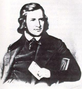 August Heinrich Hoffmann von Fallersleben auteur van het lied, 1841 (Publiek Domein - wiki)