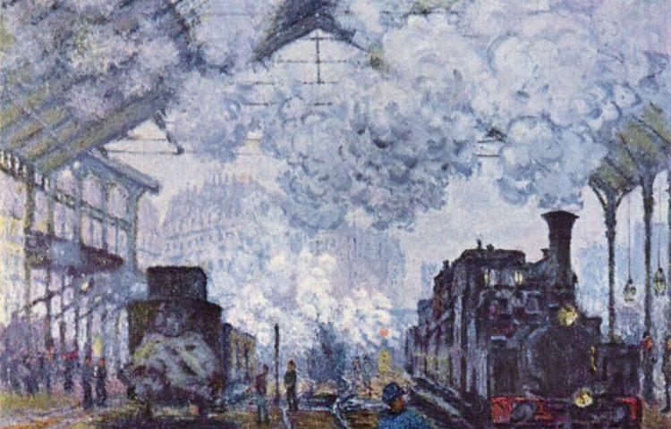 De Gare Saint-Lazare op een schilderij van Claude Monet (1877)