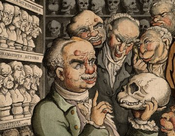 Franz Joseph Gall met vijf collega's, door Thomas Rowlandson. Bron: cc/Wellcome Collection gallery