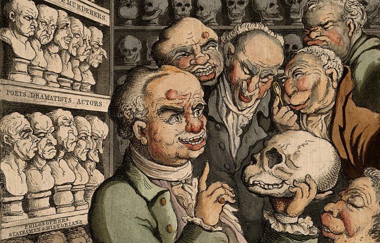 Franz Joseph Gall met vijf collega's, door Thomas Rowlandson. Bron: cc/Wellcome Collection gallery