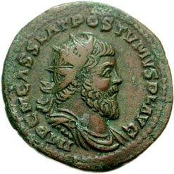 Munt met afbeelding van keizer Postumus (CC BY-SA 3.0 - Classical Numismatic Group - wiki)