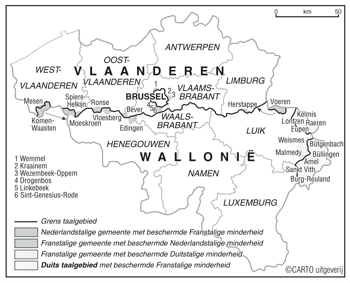 Kaartje met de taalgrenzen in België (CARTO uitgeverij)