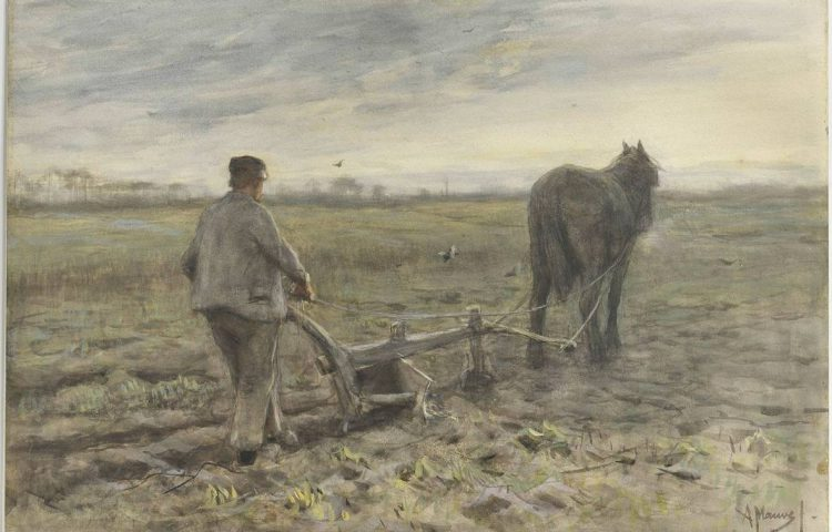Anton Mauve, Aan de ploeg, circa 1880, waterverf op papier, Singer Laren, legaat Ralph J.A. de Jong-Mellon