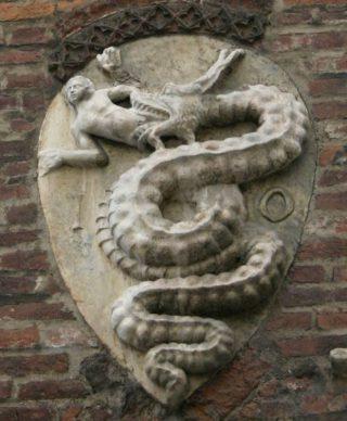 Het wapen van Visconti, inspiratiebron voor het logo van Alfa Romeo (wiki)