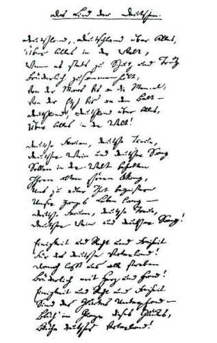 Das Lied der Deutschen in het handschrift van Hoffmann von Fallersleben (Publiek Domein - wiki)