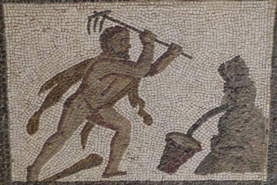 Een augiasstal uitmesten - Romeins mozaïek waarop dit werk wordt afgebeeld (CC BY-SA 3.0 – wiki – Luis Garcia)