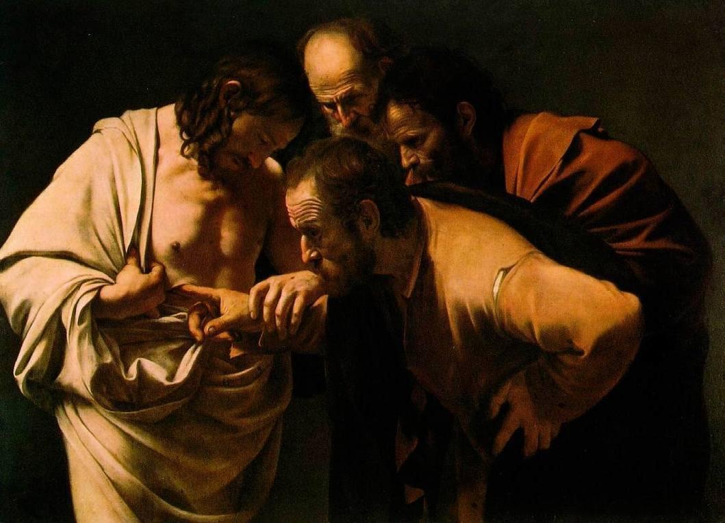 De ongelovige Thomas, geschilderd door Caravaggio (Publiek Domein - wiki)