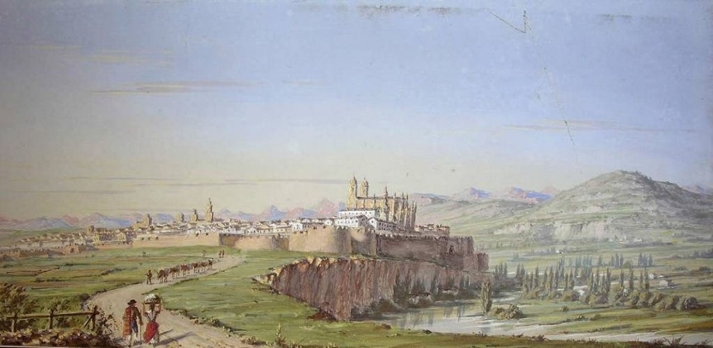 Zicht op Pamplona rond 1850 - Didier Petit de Meurville (Publiek Domein - wiki)