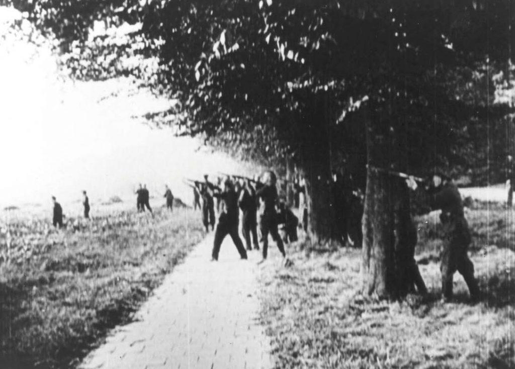 Duitse troepen openen het vuur op Britse parachutisten bij de Ginkelse Heide op 18 september 1944. Dit is een still uit de Duitse Wochenschau. (Bron: Oorlogsbronnen, collectie NIOD)