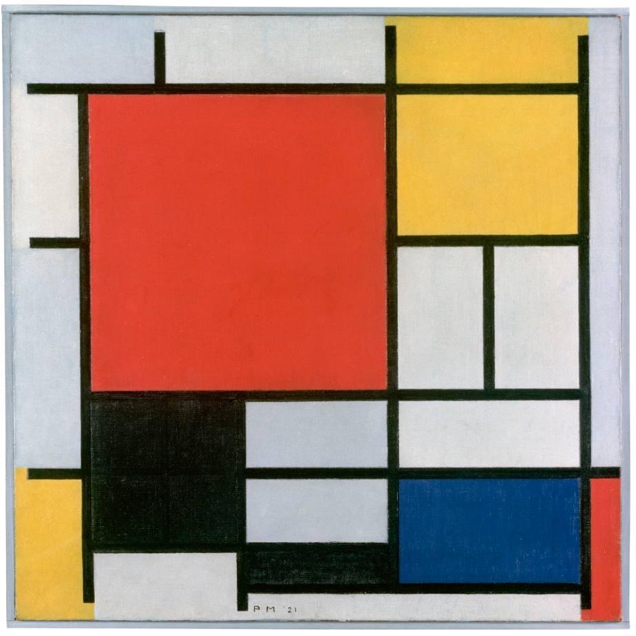 Compositie met groot rood vlak, geel, zwart, grijs en blauw - Piet Mondriaan, 1921 - Gemeentemuseum Den Haag  (Publiek Domein - wiki)
