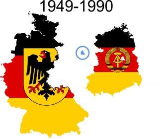 Kaart. Het verdeelde Duitsland: BRD en DDR, met een gedeeld Berlijn (Beeld: wiki)