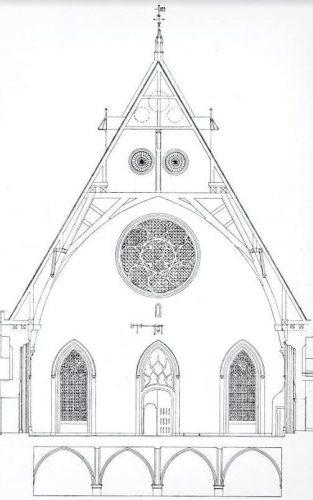 Doorsnede van de Grote Zaal met de originele dertiende-eeuwse kap. Opgemeten en getekend door J. Cramer, 1859. Beschrijving van de grafelijke zalen op het Bonnenhof te 's-Gravenhage (Den Haag 1907) 130, plaat 72.