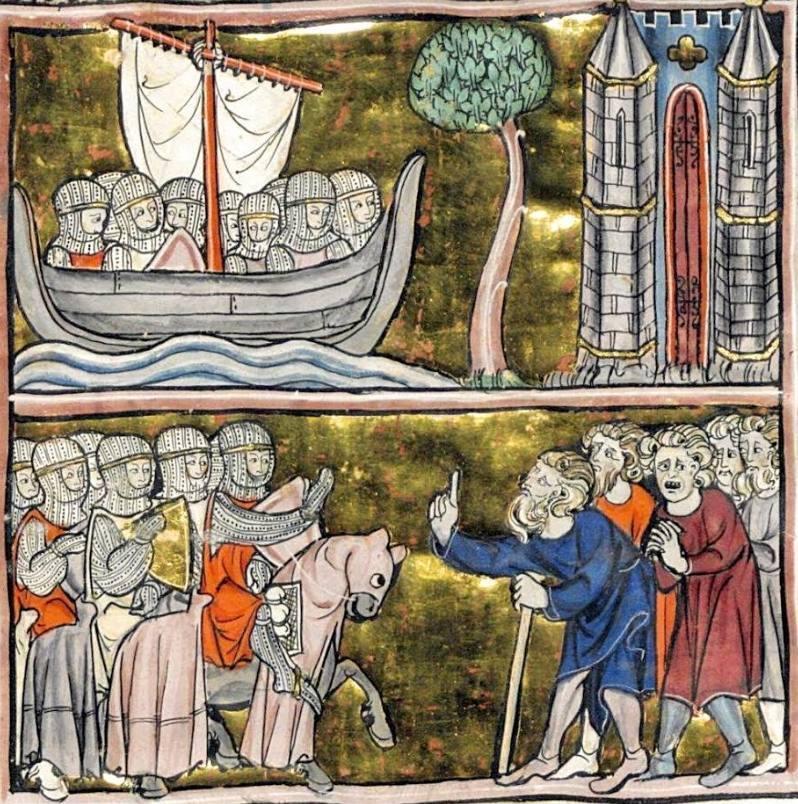 Ridders in een schip en in gesprek met boeren. Histoire du Saint Graal (1280-1290). Bibliothèque National, Parijs, BNF Français 95, fol. 209v.