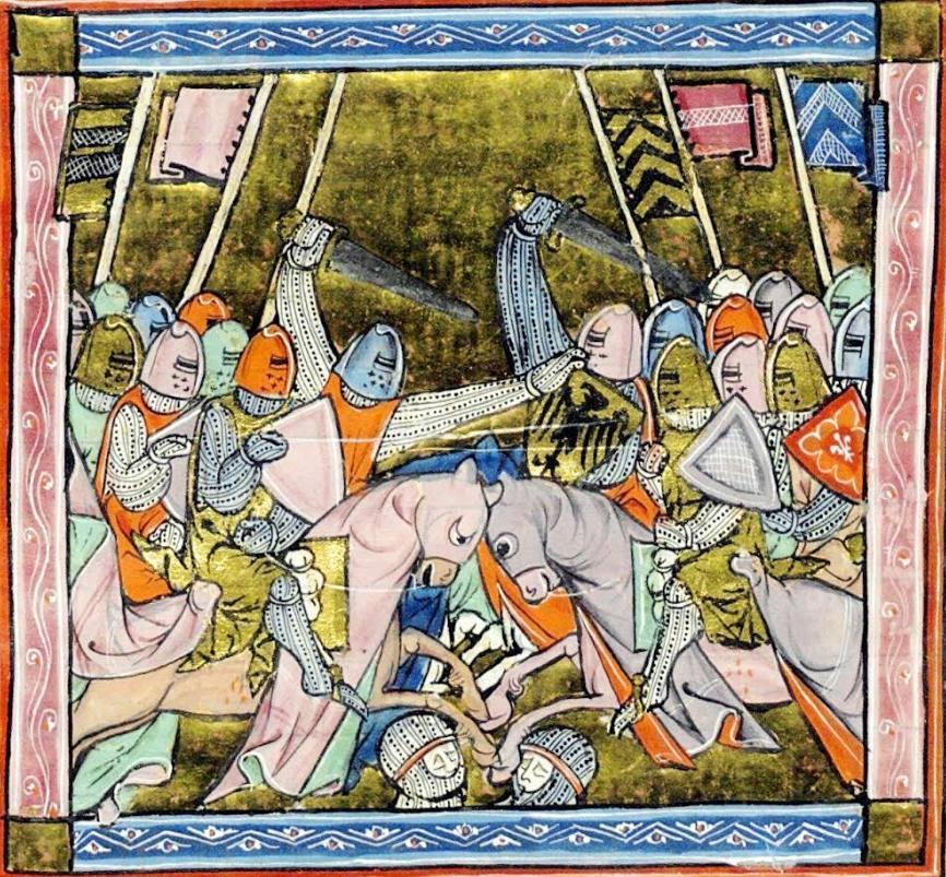 Veldslag. Histoire du Saint Graal (1280-1290). Bibliothèque National, Parijs, BNF Français 95, fol. 24r.