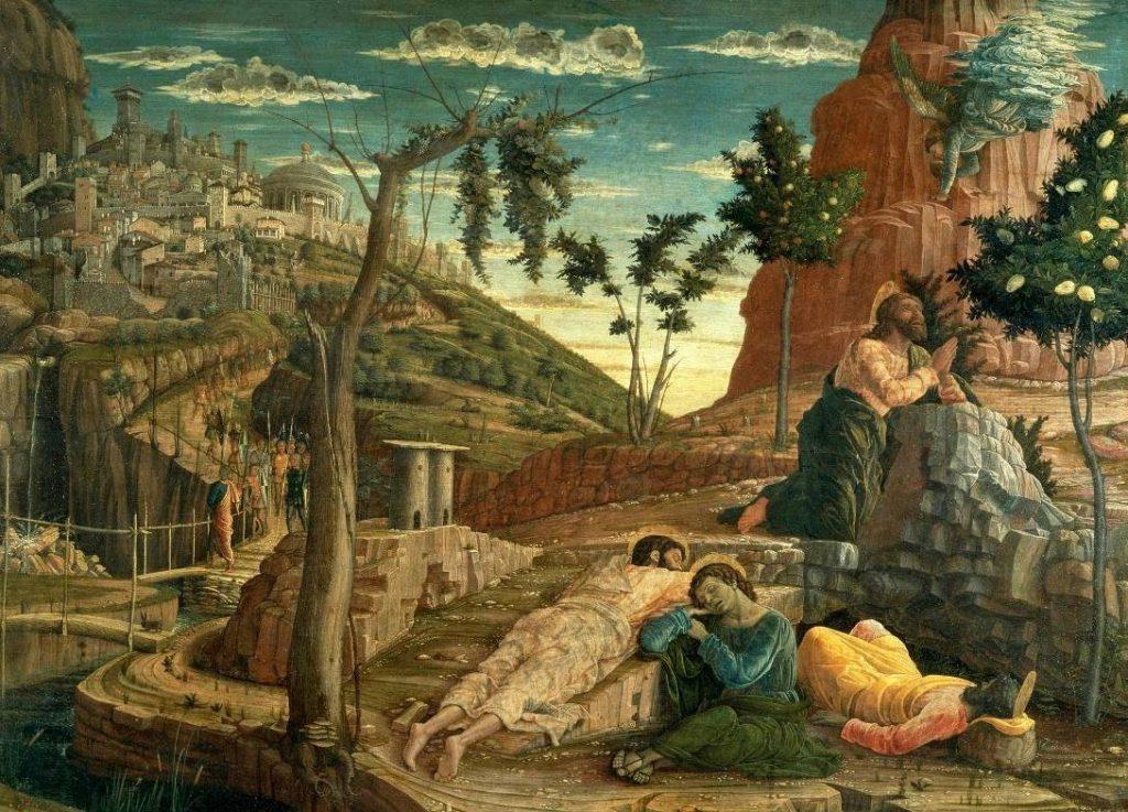Gebed op de Olijfberg, paneel van een altaarstuk van Andrea Mantegna. Jezus te midden van enkele fruitbomen in de tuin van Getsemane (Publiek Domein   - wiki)