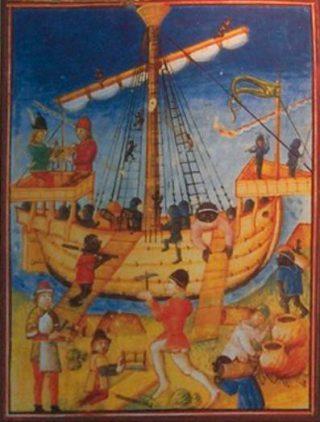 Karveel op een tekening in het Museum Forte da Ponta da Bandeira; Lagos, Portugal. (CC BY 2.5 - wiki - Georges Jansoone)