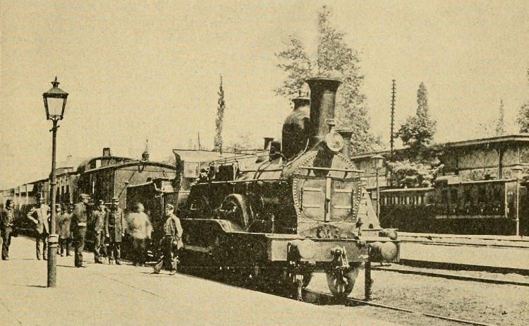 Een Belgische stoomlocomotief in 1899
