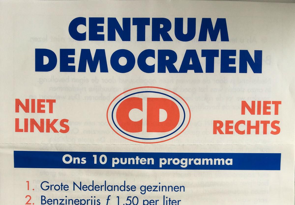 Folder Centrumdemocraten voor de Tweede Kamerverkiezingen, mei 1994. (Bron: Collectie Jan de Vetten)