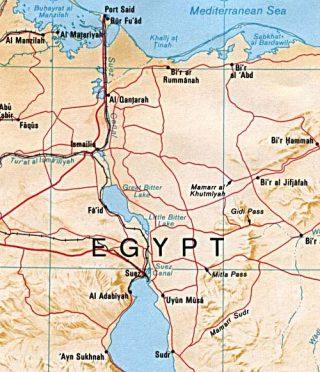 Kaart van het Suezkanaal