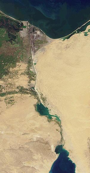 Satellietfoto van het Suezkanaal (Publiek Domein - wiki)