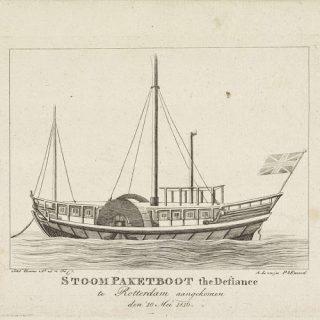Het eerste stoomschip, de Defiance uit Engeland, dat in 1816 aanlegde in Rotterdam. Prent van Joannes Bemme (Rijksmuseum)