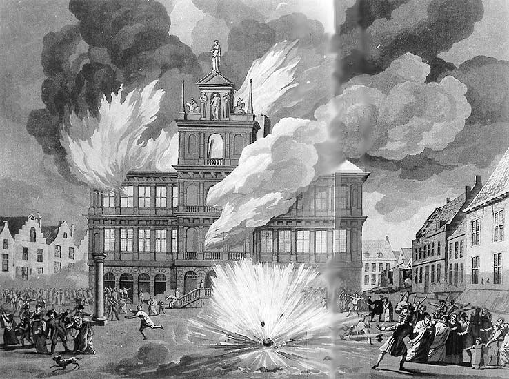 De Engelse invallers steken in 1809 het stadhuis van Vlissingen in brand. Prent van Friedrich Christoph Dietrich (Rijksmuseum)