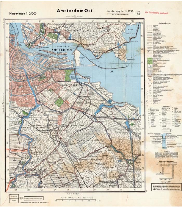 Duitse militair-topografische kaart van Amsterdam-Oost, 1940. Foto niod.