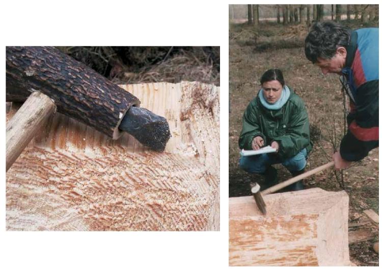 Beelden van de bouw van een replica van de Kano van Pesse. Foto's: Jaap Beukers, Drents Museum. Uit: Van boom tot boot
