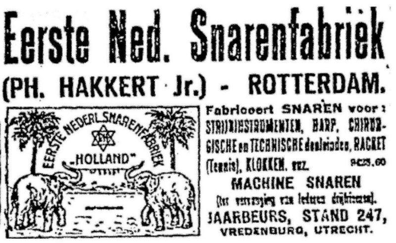 Advertentie van de snarenfabriek van Hakkert, 1919