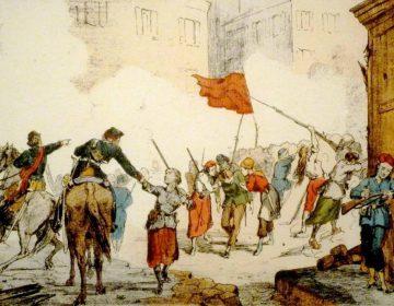 Door vrouwen verdedigde barricade bij La Place Blanche (Publiek Domein - wiki)
