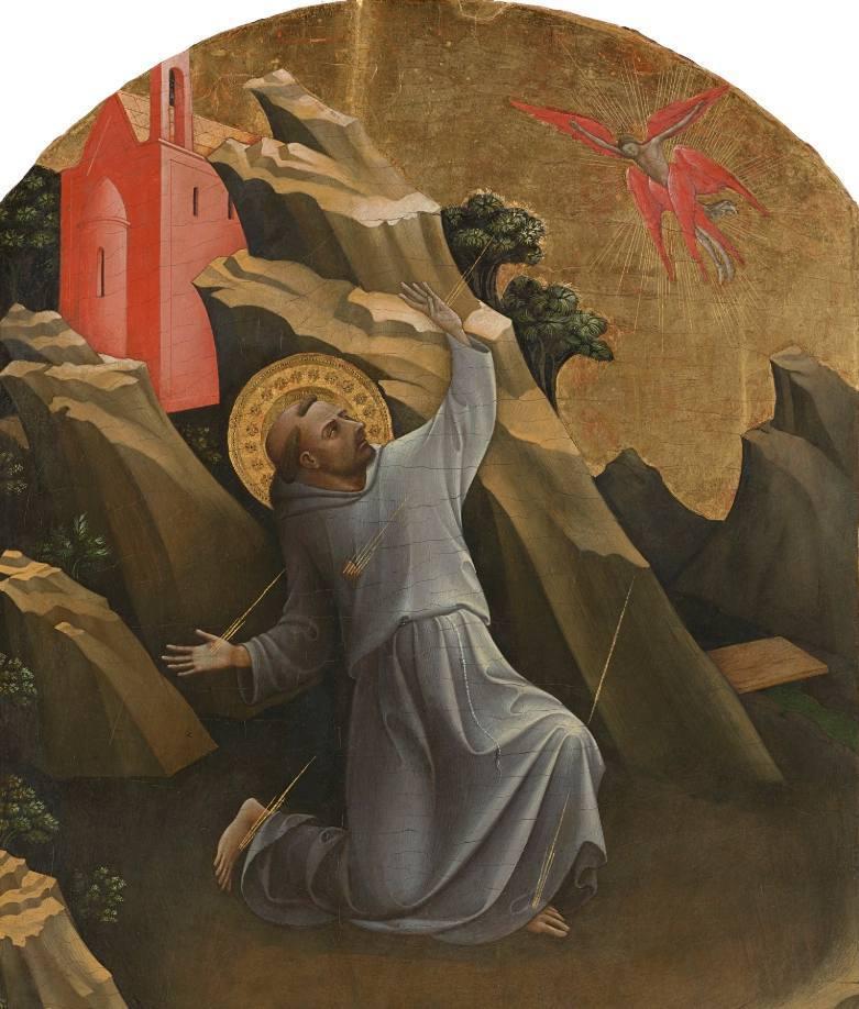 Franciscus van Assisi ontvangt de stigmata - Lorenzo Monaco, ca. 1420 (Publiek Domein - wiki)