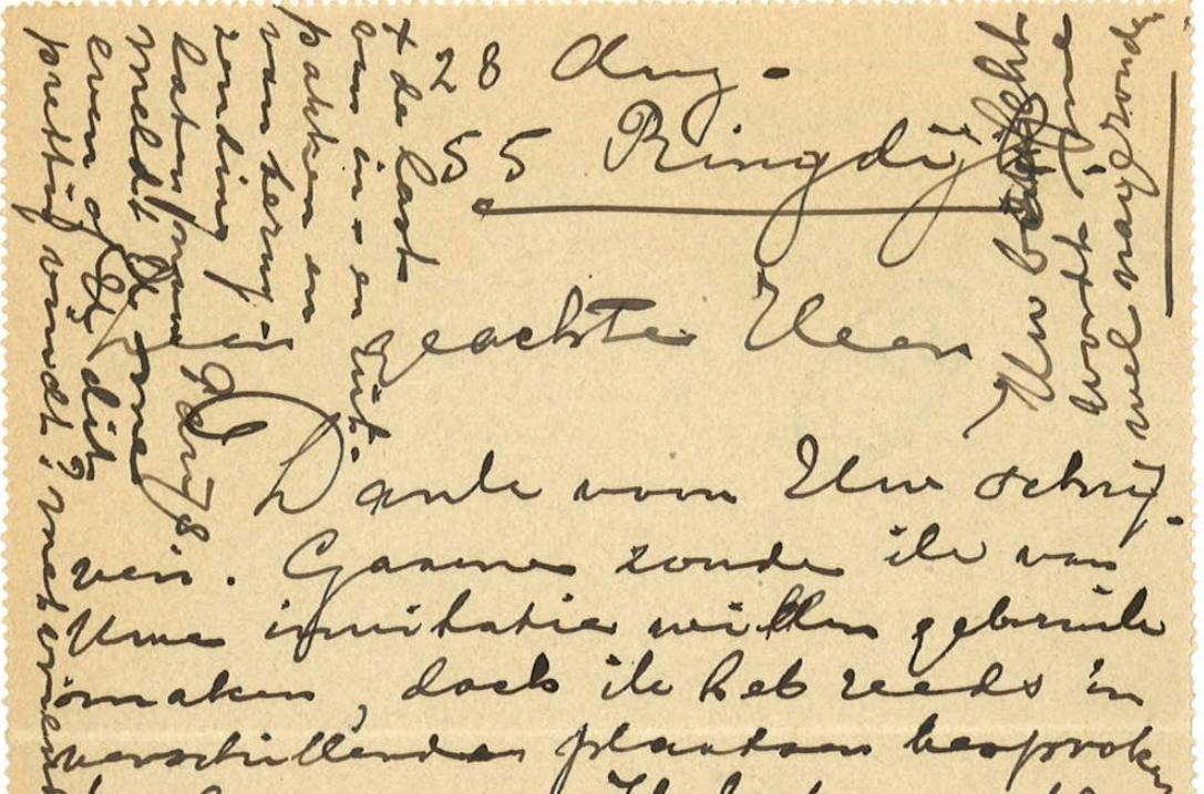 Detail van een brief Mondriaan aan Van Assendelft (1914) Bron: RKD – Nederlands Instituut voor Kunstgeschiedenis