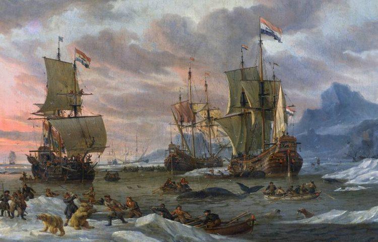 Fluitschepen gebruikt tijdens de walvisvangst - Abraham Storck (Publiek Domein - wiki)