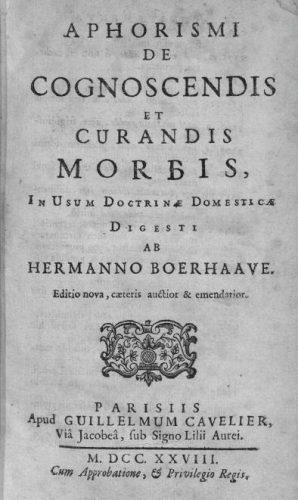 Aphorismi de Cognoscendis et Curandis Morbis, 1728 (Publiek Domein - wiki)
