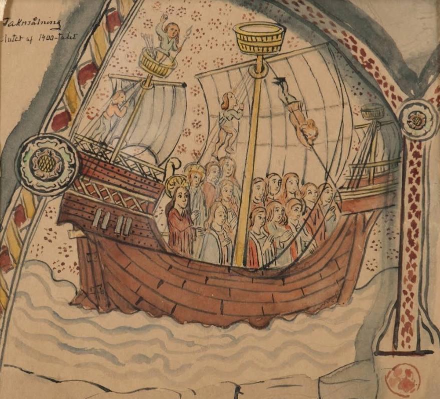 De kogge, hét symbool van de Hanze. Hier met Sint-Ursula en haar gezellinnen (C. Hellström naar middeleeuws fresco; Sjöhistoriska museet, Stockholm)
