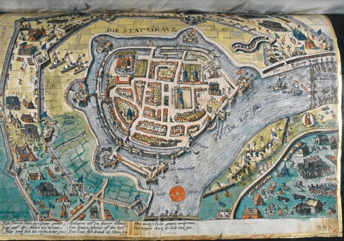 Een print van het Staats beleg van Grave onder leiding van Prins Maurits in 1602 (Stadsbestuur Grave, 1290-1810, collectie BHIC)